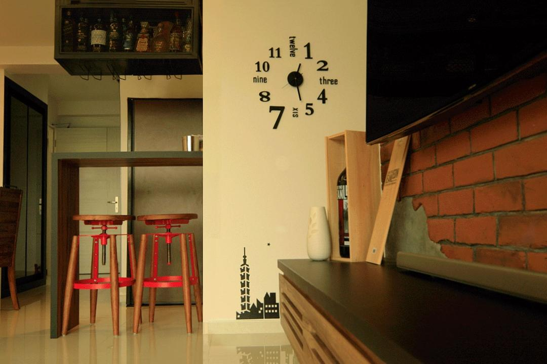 Yuan Ching Road (Block 138B), Corazon Interior, Eclectic, Living Room, HDB, Wall Clock, Wall Decal, Brick Wall, Reddish Brick Wall, Raw Brick Wall, Black Shelf, Red Stool, Bar Stool, Furniture, Indoors, Interior Design, Brick