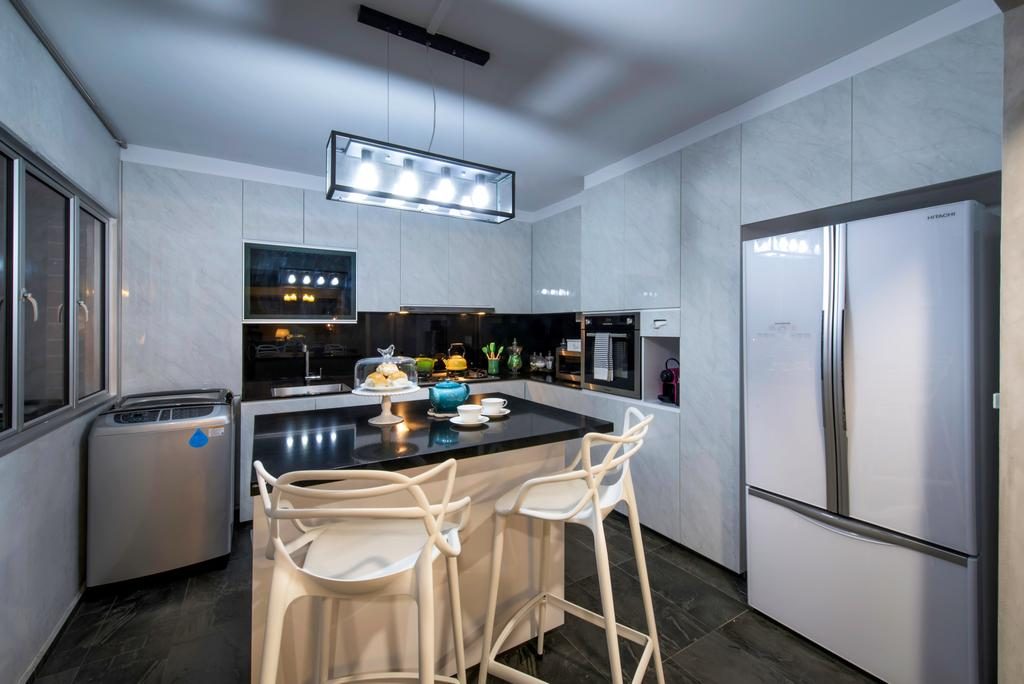 Eclectic, HDB, Kitchen, Tampines Street 43 (Block 494C), Interior Designer, IdeasXchange, Chair, Furniture, Indoors, Interior Design, Room, Appliance, Electrical Device, Oven, Dining Room, Dishwasher