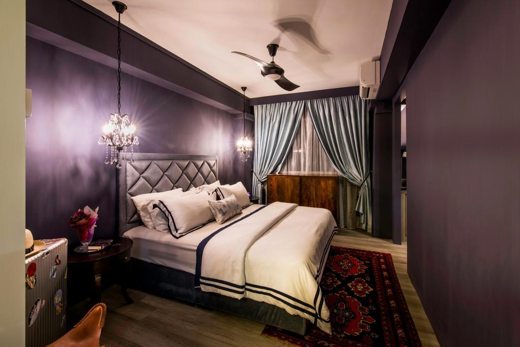 Eclectic, HDB, Bedroom, Tampines Street 43 (Block 494C), Interior Designer, IdeasXchange, Banister, Handrail, Staircase, Indoors, Interior Design, Room, Lamp, Lampshade