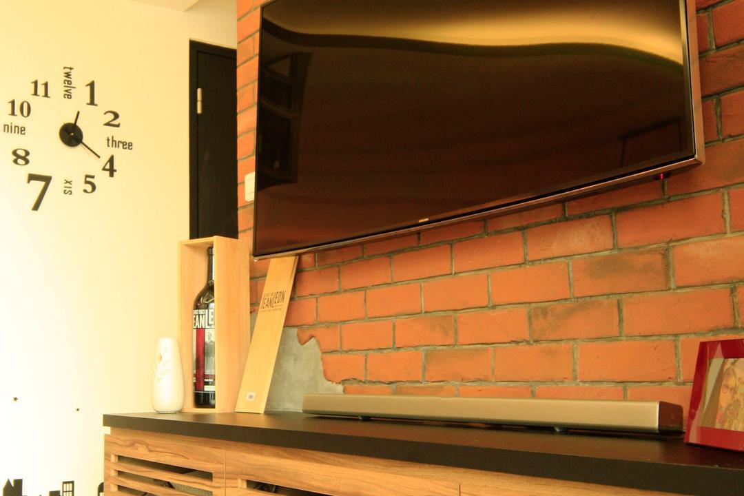 Yuan Ching Road (Block 138B), Corazon Interior, Eclectic, Living Room, HDB, Air Con, Clock, Wall Clock, White Flooring, Wall Shelf, Wall Mounted Tv Shelf, Tv Console, Wooden Tv Console, Wooden Tv Shelf, Brick Wall, Raw Brick Wall, Flatscreen Tv, Wall Mount Tv
