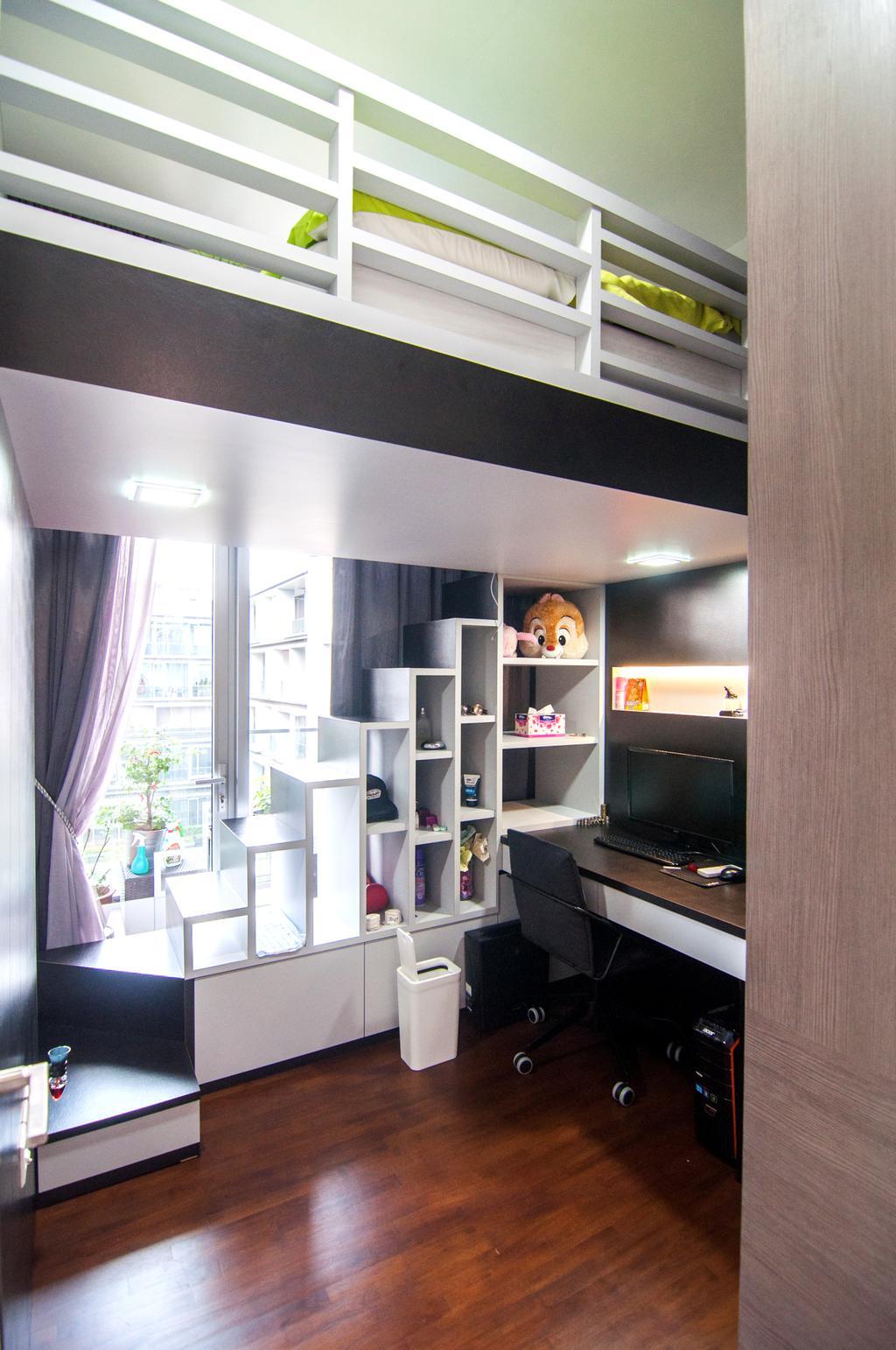 Contemporary, Condo, Study, Seletar Park Residence (Block 21), Interior Designer, IdeasXchange, HDB, Building, Housing, Indoors, Electronics, Monitor, Screen, Tv, Television