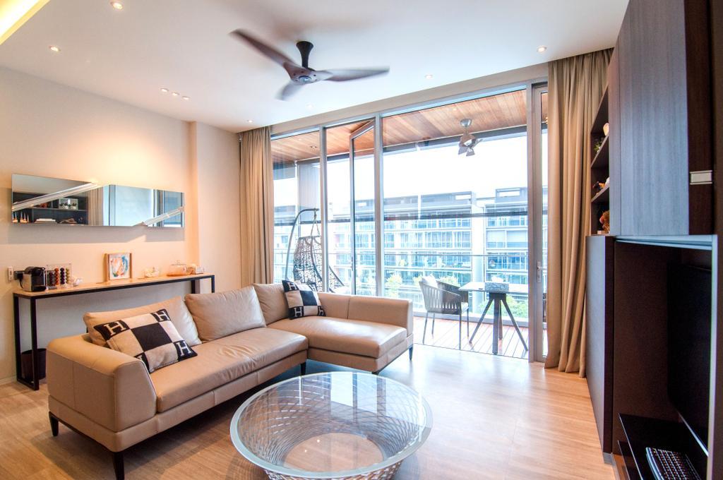 Contemporary, Condo, Living Room, Seletar Park Residence (Block 17), Interior Designer, IdeasXchange, Couch, Furniture, Gate, Turnstile, Indoors, Interior Design, Room, HDB, Building, Housing