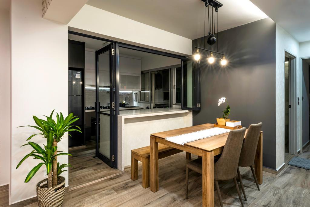 Contemporary, HDB, Dining Room, Telok Blangah Heights (Block 70C), Interior Designer, IdeasXchange, Scandinavian, Dining Table, Furniture, Table, Chair, Indoors, Interior Design, Room