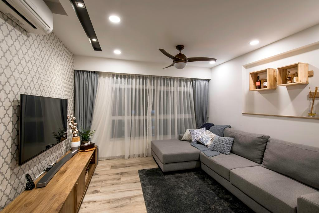 Contemporary, HDB, Living Room, Telok Blangah Heights (Block 70C), Interior Designer, IdeasXchange, Scandinavian, Couch, Furniture, Indoors, Interior Design