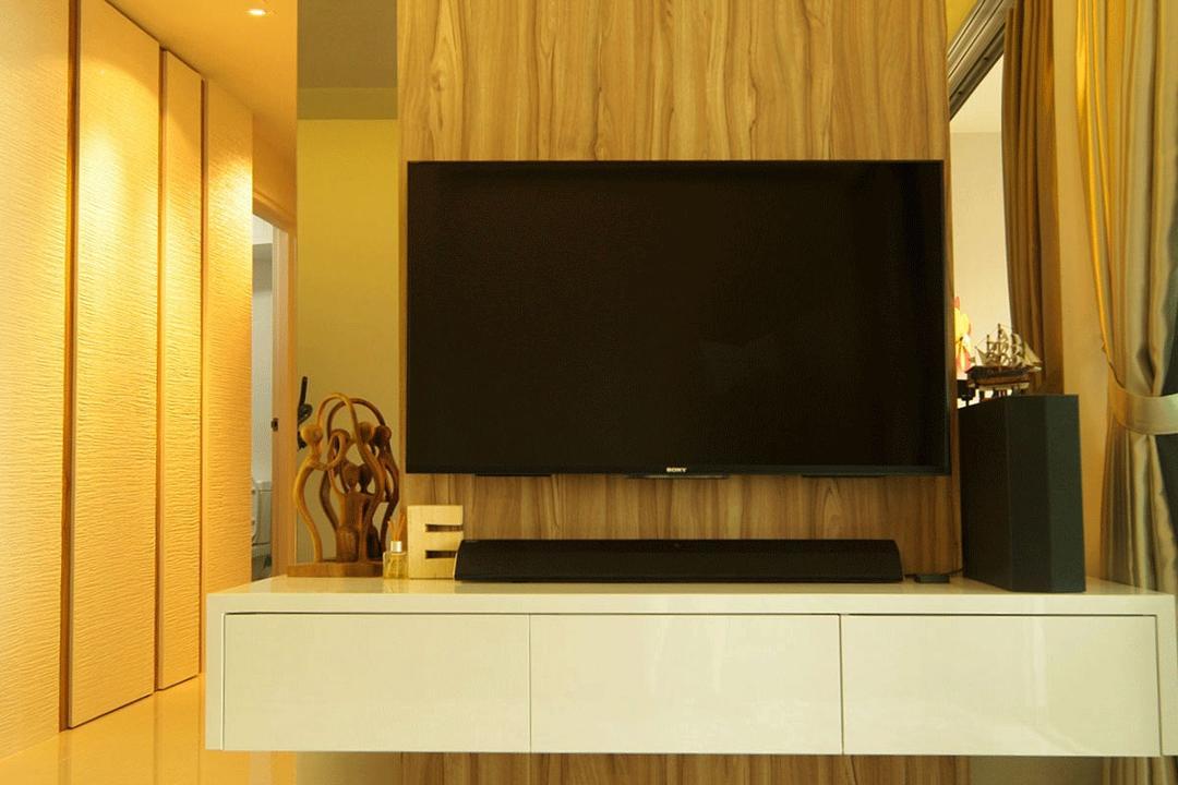 Upper Serangoon Crescent (Block 475C), Corazon Interior, Modern, Living Room, HDB, Yellow Lighting, Warm Lighting, Flatscreen Tv, Wall Mount Tv, White Shelf, Wall Mounted Shelf, Feature Wall