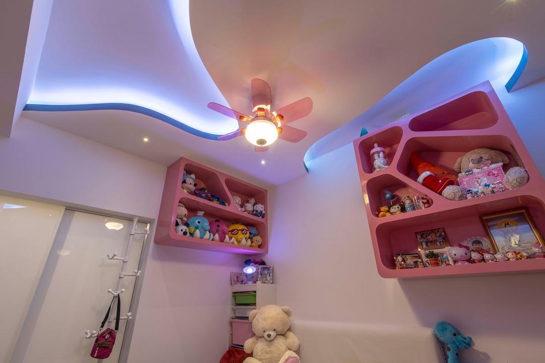 City Square Residences, Ace Space Design, Modern, Bedroom, Condo, False Ceiling, Concealed Lighting, Concealed Light, Light Fan, Coat Rack, Pink Display Shelf, Pink Display Cabinet, Shelf