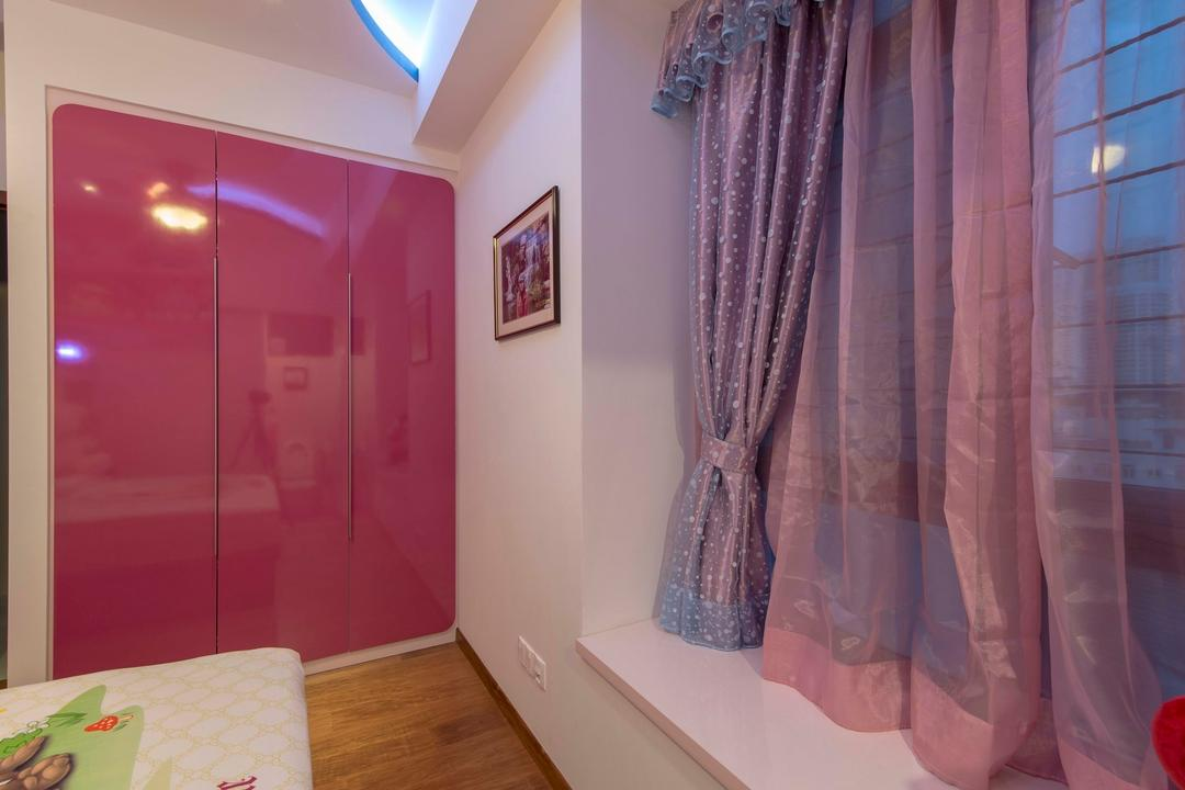 City Square Residences, Ace Space Design, Modern, Bedroom, Condo, Curtain, Pink Wardrobe, Pink Cupboard, Wooden Flooring, Wallart, Wall Frame, False Ceiling, Concealed Lighting, Molding