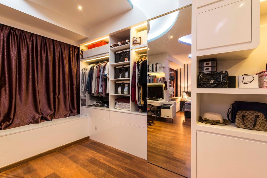 City Square Residences, Ace Space Design, Modern, Bedroom, Condo, Wooden Flooring, Walk In Wardrobe, Display Shelves, Display Shelf, False Ceiling, Concealed Light, Concealed Lighting, Indoors, Interior Design, Flooring