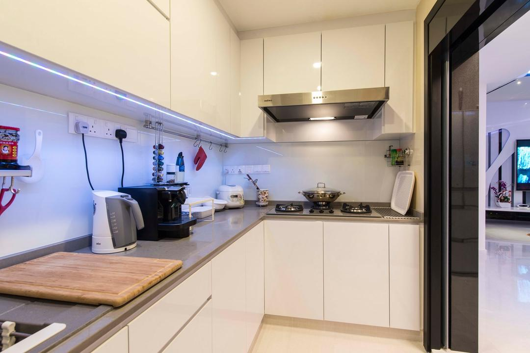 City Square Residences, Ace Space Design, Modern, Kitchen, Condo, Concealed Lighting, Concealed Light, Kitchen Cabinet, Wall Mounted Cabinet, Counter Top, Grey Counter Top, Gray Counter Top