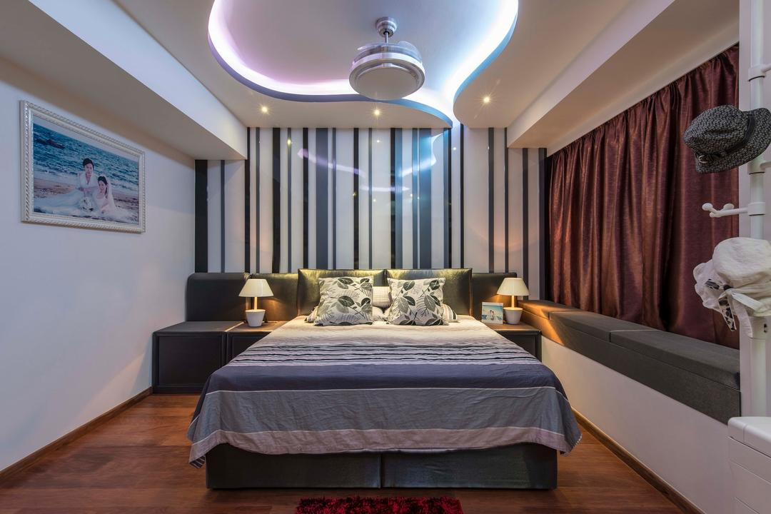 City Square Residences, Ace Space Design, Modern, Bedroom, Condo, Wall Frame, Picture Frame, Wooden Flooring, Bedside Table, Bedside Lamp, Baywindow, Curtain, Bay Window, Concealed Lighting, Concealed Light, False Ceiling, Monochrome Strips, Bed, Furniture, Indoors, Interior Design, Room