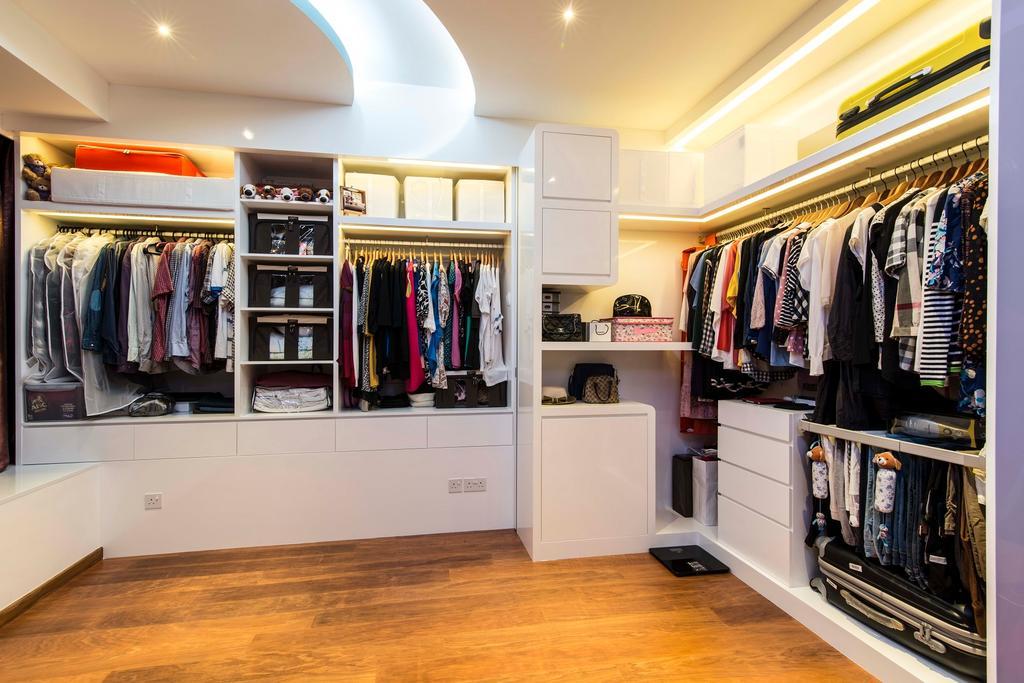 Modern, Condo, Bedroom, City Square Residences, Interior Designer, Ace Space Design, Wooden Flooring, Walk In Wardrobe, Wardrobe, Storage, False Celing, Concealed Lighting, Concealed Light, Drawers, Closet, Flooring, Apparel, Clothing