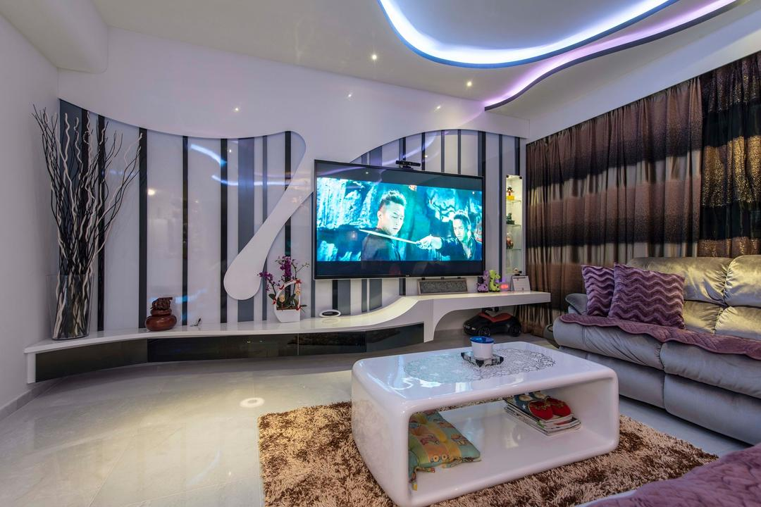 City Square Residences, Ace Space Design, Modern, Living Room, Condo, False Ceiling, Concealed Lighting, Concealed Light, Curtain, White Coffee Table, Tv Console, Carpet, Rug, Couch, Furniture, Electronics, Lcd Screen, Monitor, Screen, Indoors, Room, Jar, Pottery, Vase