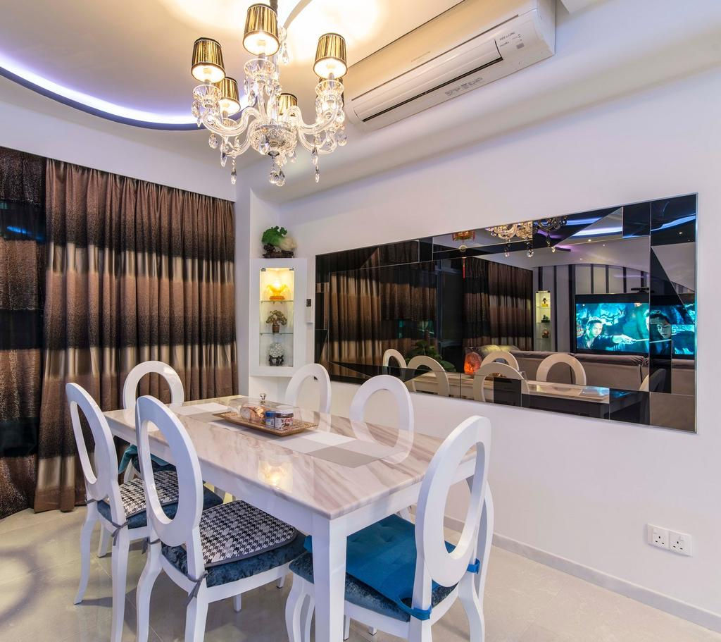Modern, Condo, Dining Room, City Square Residences, Interior Designer, Ace Space Design, Concealed Lighting, Concealed Light, Chandelier, White Wall, Curtain, White Dining Chair, White Chairs, Chair, Furniture, Indoors, Interior Design, Room, Dining Table, Table, Lamp