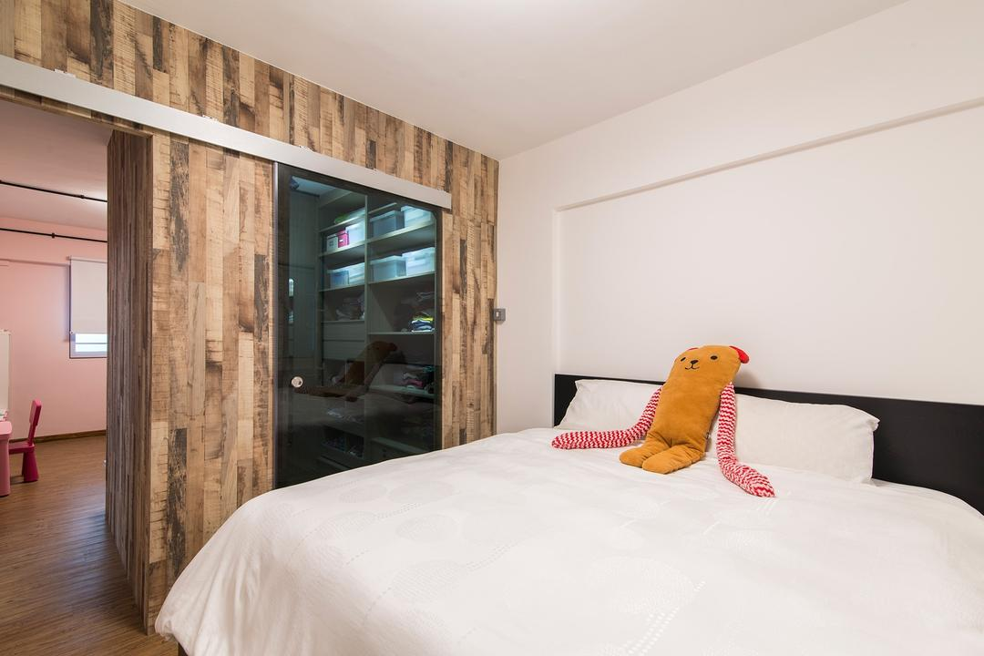 Clementi Avenue 3, Ace Space Design, Contemporary, Bedroom, HDB, Wooden Wall, Wood Laminate, White Wall, White Interior, Wooden Flooring