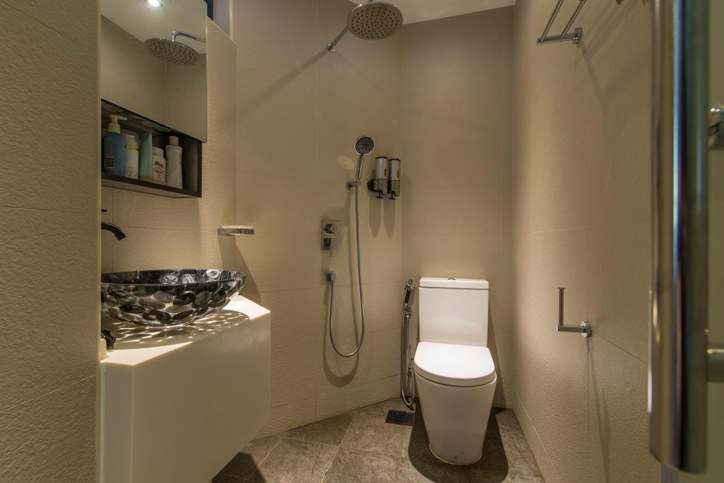Scandinavian, Condo, Bathroom, Glendale Park, Interior Designer, Ace Space Design, Stone Tiles, Bathroom Tiles, Vessel Sink, Patterned Sink, Bathroom Shelf, Display Shelf, Toilet, Cabinet, Furniture, Medicine Chest