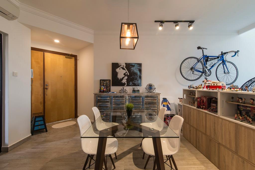 Scandinavian, Condo, Dining Room, Glendale Park, Interior Designer, Ace Space Design, Track Light, Track Lighting, Trackie, White Chair, White Dining Chairs, Glass Table, Glass Dining Table, Wooden Flooring, Wooden Display Shelf, Chair, Furniture, Indoors, Interior Design, Room, Bicycle, Bike, Transportation, Vehicle