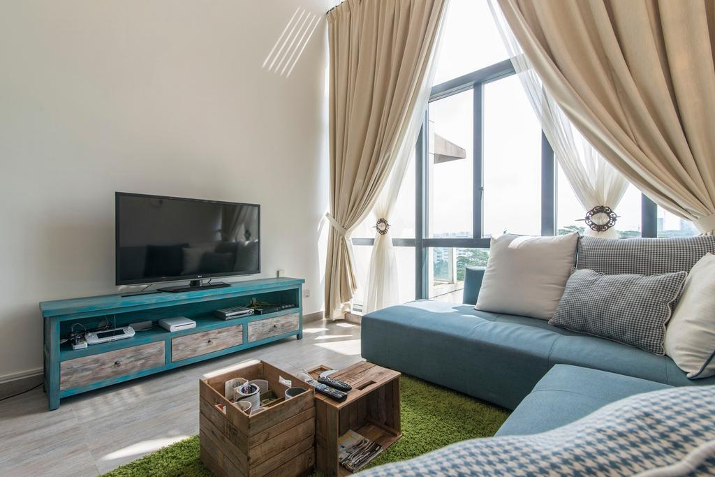 Scandinavian, Condo, Living Room, Glendale Park, Interior Designer, Ace Space Design, Blue Tv Console, Blue Console, Green Carpet, Blue Sofa, Wooden Coffee Table, Coffee Table, Green Rug, Couch, Furniture