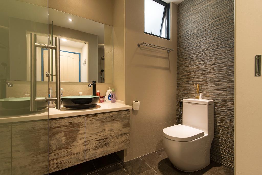 Scandinavian, Condo, Bathroom, Glendale Park, Interior Designer, Ace Space Design, Stone Tiles, Bathroom Tiles, Vessel Sink, Brown Tiles, Vanity, Laminate, Indoors, Interior Design, Room, Toilet