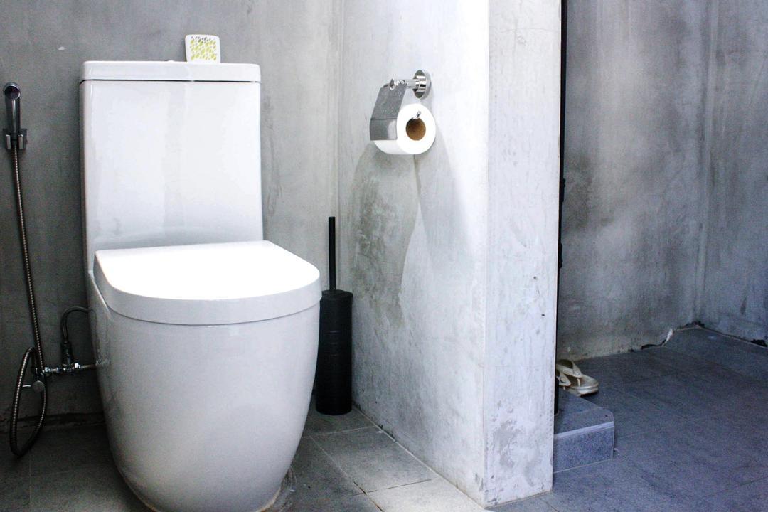 Lor Limau, Ace Space Design, Industrial, Bathroom, HDB, Bathroom Tiles, Grey Wall, Gray Wall, Bathroom Tile, Toilet