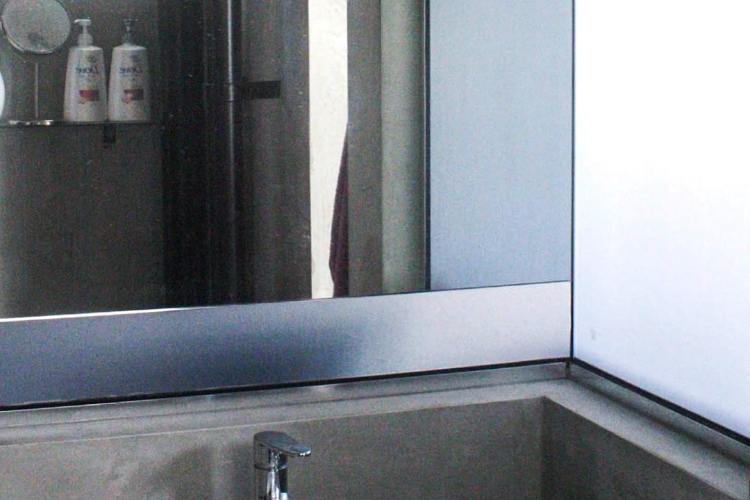 Lor Limau, Ace Space Design, Industrial, Bathroom, HDB, Bathroom Sink, Round Sink, Bathroom Tiles, Bathroom Mirror