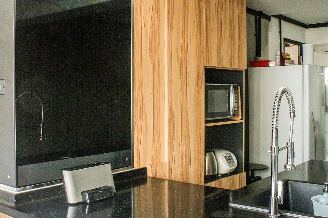 Lor Limau, Ace Space Design, Industrial, Kitchen, HDB, Granite Counter Top, Kitchen Counter Top, Hanging Light, Wooden Cabinet, Wood Laminate, Sink