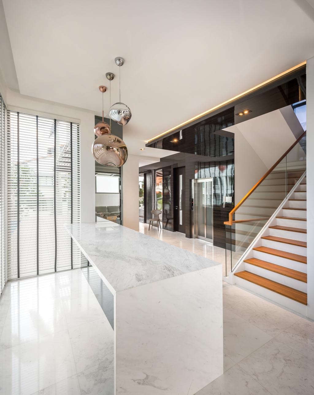 Modern, Landed, Kitchen, Boscombe Road Residence, Interior Designer, IN-EXPAT, Banister, Handrail, Staircase, Indoors, Interior Design