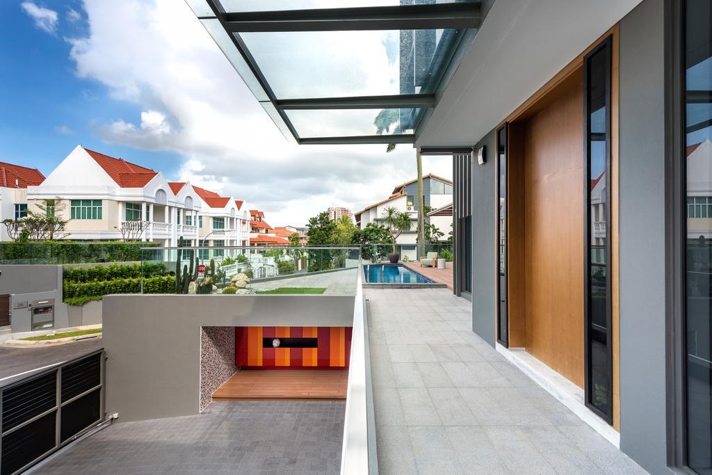 Modern, Landed, Balcony, Boscombe Road Residence, Interior Designer, IN-EXPAT, Building, House, Housing, Villa, Door, Folding Door