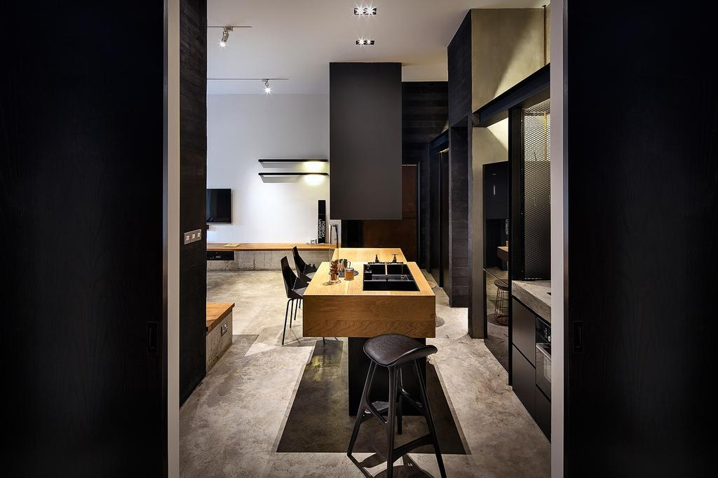 Industrial, Condo, Dining Room, Moonstone Lane, Interior Designer, IN-EXPAT, Bar Stool, Furniture, Chair, HDB, Building, Housing, Indoors