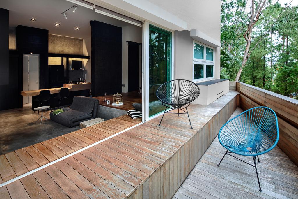 Industrial, Condo, Balcony, Moonstone Lane, Interior Designer, IN-EXPAT, Couch, Furniture, Chair, Hardwood, Wood