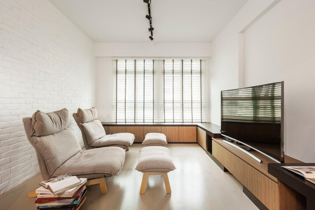 Fernvale, IN-EXPAT, Contemporary, Living Room, HDB, Modern Contemporary Living Room, Ceramic Floor, Track Lights, Lounge Chair, Flatscreen Tv, Wooden Television Console, Roll Down Curtain, Indoors, Room, Couch, Furniture