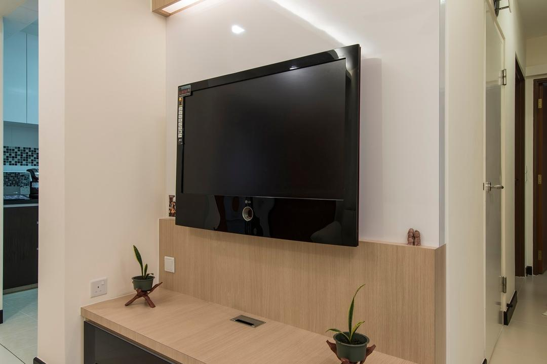 Montreal Link, Ace Space Design, Modern, Living Room, HDB, Wood Laminate, Wood Tv Console, Concealed Lighting, Potted Plant, Wooden Console, Concealed Light, False Ceiling