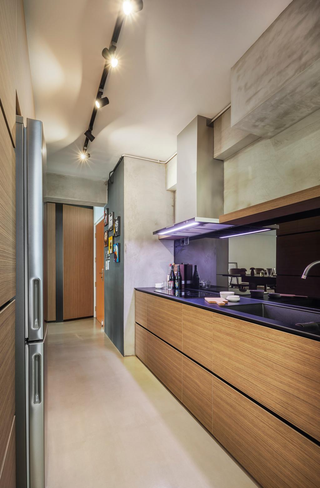 Contemporary, HDB, Kitchen, Fernvale, Interior Designer, IN-EXPAT, Modern Contemporary Kitchen, Wooden Kitchen Cabinet, Wooden Kitchen Cupboard, Track Lights, Black Laminated Top, Bottle, Sink