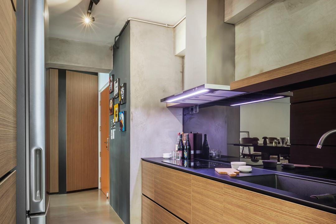 Fernvale, IN-EXPAT, Contemporary, Kitchen, HDB, Modern Contemporary Kitchen, Wooden Kitchen Cabinet, Wooden Kitchen Cupboard, Track Lights, Black Laminated Top, Bottle, Sink