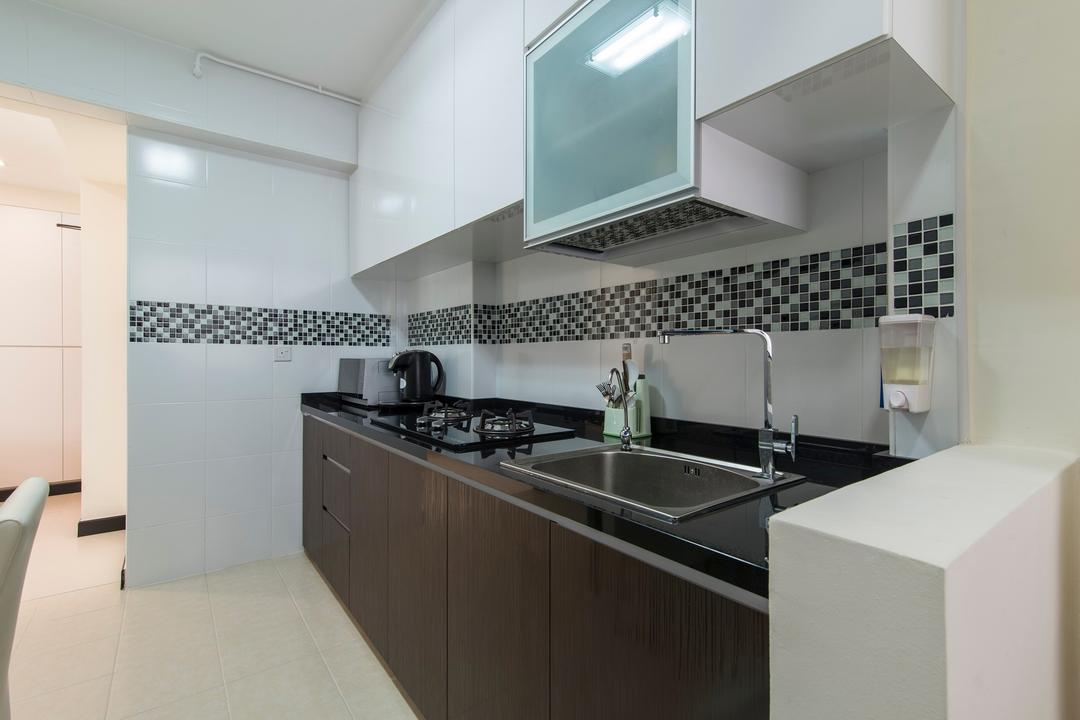 Montreal Link, Ace Space Design, Modern, Kitchen, HDB, Mosaic Tiles, Mosaic Tile, Tiles Backsplash, Wood Laminate, Kitchen Cabinet, Counter Top, Black Counter Top, Indoors, Interior Design, Room, Appliance, Electrical Device, Oven