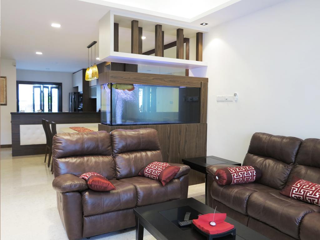 Traditional, Landed, Living Room, Andrews Terrace, Interior Designer, NIJ Design Concept, Couch, Furniture, Animal, Aquarium, Sea Life, Water, HDB, Building, Housing, Indoors, Loft