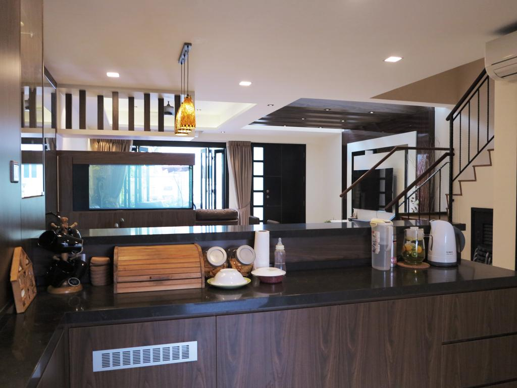 Traditional, Landed, Kitchen, Andrews Terrace, Interior Designer, NIJ Design Concept, HDB, Building, Housing, Indoors, Loft, Appliance, Electrical Device, Fridge, Refrigerator