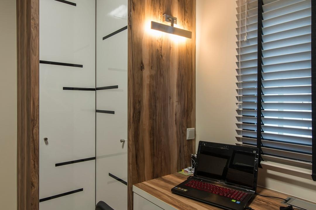 Montreal Link, Ace Space Design, Modern, Study, HDB, Wood Laminate, Study Table, Venetian Blinds, Blinds, Wall Lamp, Study Lamp, Wooden Table Top, Building, Housing, Indoors