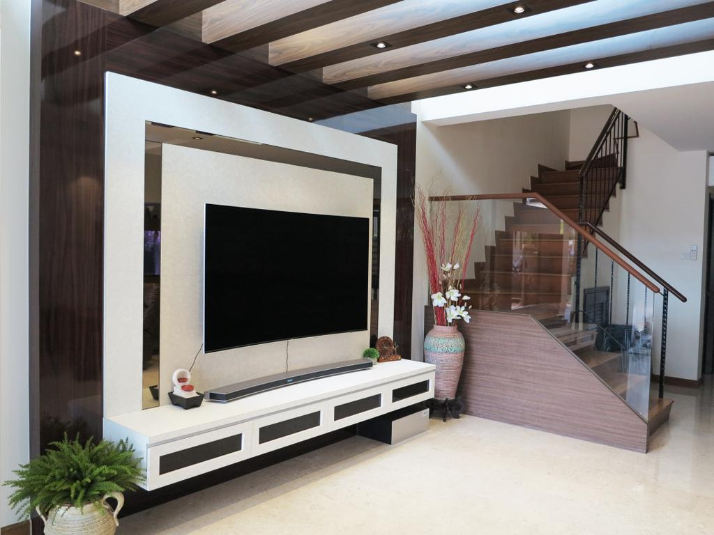 Traditional, Landed, Living Room, Andrews Terrace, Interior Designer, NIJ Design Concept, Electronics, Lcd Screen, Monitor, Screen, Banister, Handrail