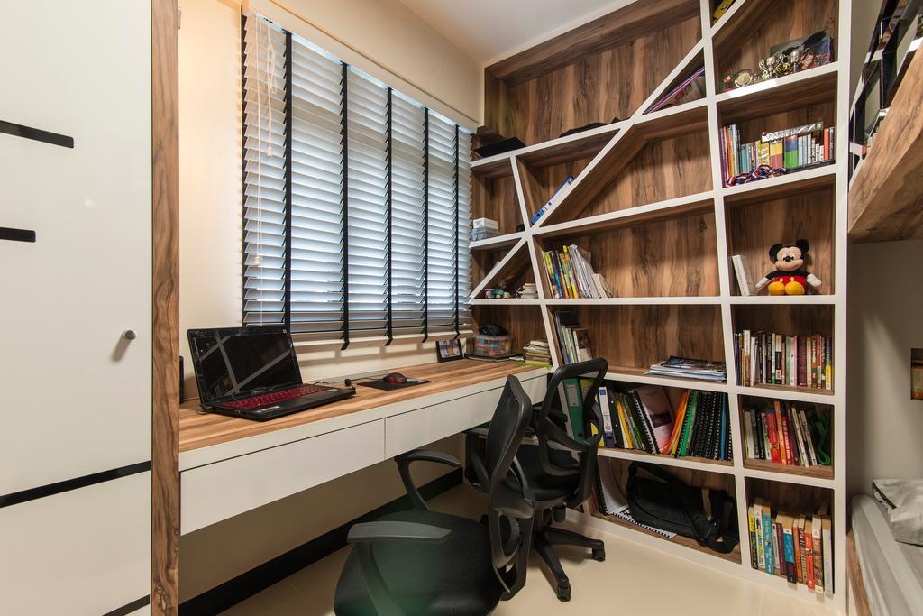 Modern, HDB, Study, Montreal Link, Interior Designer, Ace Space Design, Bookshelf, Blinds, Full Length Bookshelf, Study Table, White Laminate, Book Shelf, Venetian Blinds, Chair, Furniture, Bookcase, Pantry, Shelf