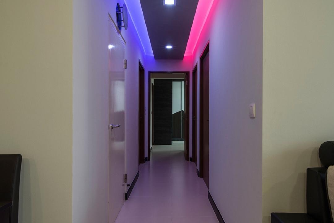 Montreal Link, Ace Space Design, Modern, HDB, Concealed Lighting, Concealed Light, Recessed Light, Recessed Lighting, Colourful Light, Blue Light, Red Light, Corridor, Lighting, Light