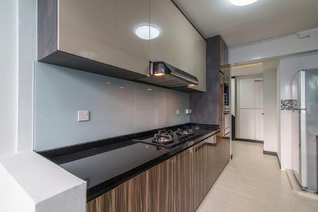 Montreal Link, Ace Space Design, Modern, Kitchen, HDB, Ceiling Light, Glass Backsplash, Wood Laminate, Kitchen Counter Top, Black Counter Top, Kitchen Cabinet, Wall Mounted Cabinet