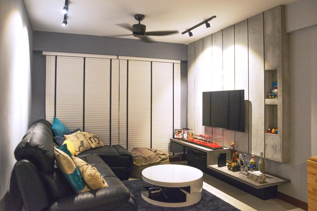 Modern, HDB, Yishun (Block 342B), Interior Designer, NIJ Design Concept, Couch, Furniture, Sink, Building, Housing, Indoors