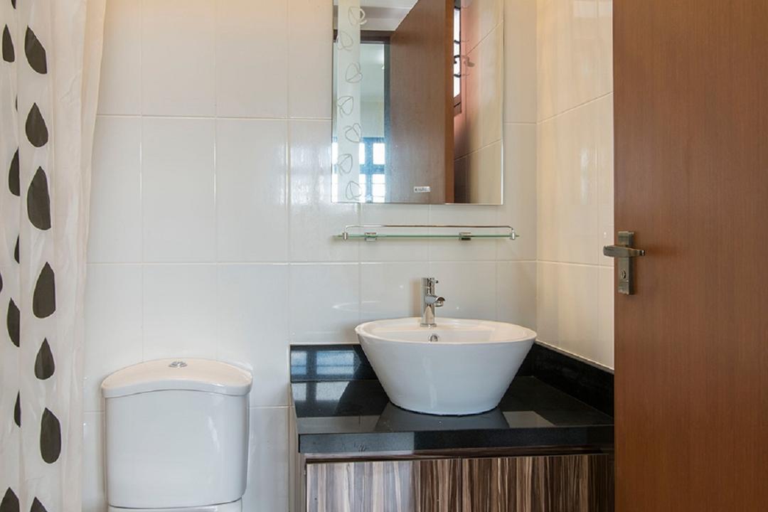 Montreal Link, Ace Space Design, Modern, Bathroom, HDB, Vanity, Wood Laminate, Bathroom Tiles, Brown Tiles, Shower Curtain, Polka Dot Shower Curtain, Vessel Sink, Indoors, Interior Design, Room