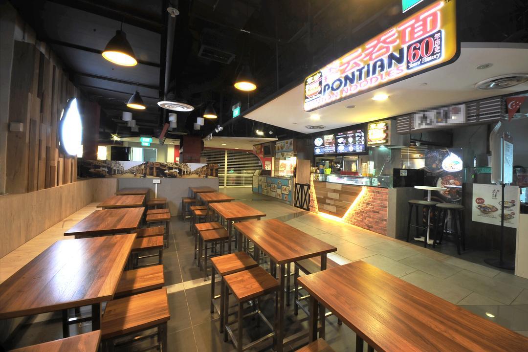 Pontian Sunplaza, NIJ Design Concept, Modern, Commercial, Lighting, Lumber, Wood, Food, Food Court, Restaurant, Bar Counter, Pub