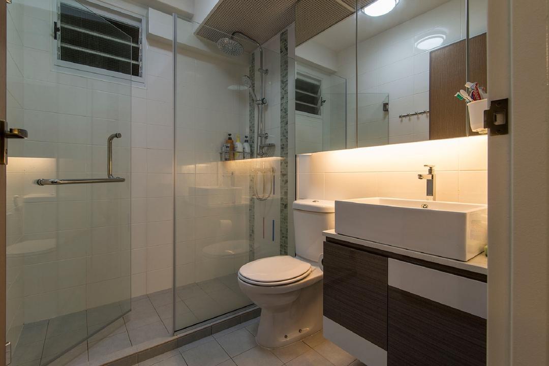 Sengkang East Avenue, Ace Space Design, Modern, Bathroom, HDB, Glass Door, Glass Shower Door, Concealed Lighting, Concealed Light, Ceiling Light, Bathroom Tiles, Vanity, Indoors, Interior Design, Room