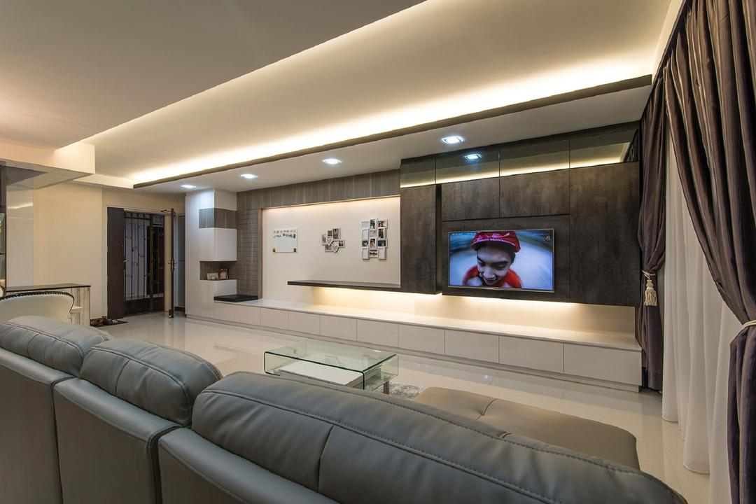 Sengkang East Avenue, Ace Space Design, Modern, Living Room, HDB, False Ceiling, Concealed Light, Concealed Lighting, Glass Coffee Table, Curtain, Day Curtain, Night Curtain, Feature Wall, Recessed Light, Couch, Furniture, Electronics, Entertainment Center, Home Theater