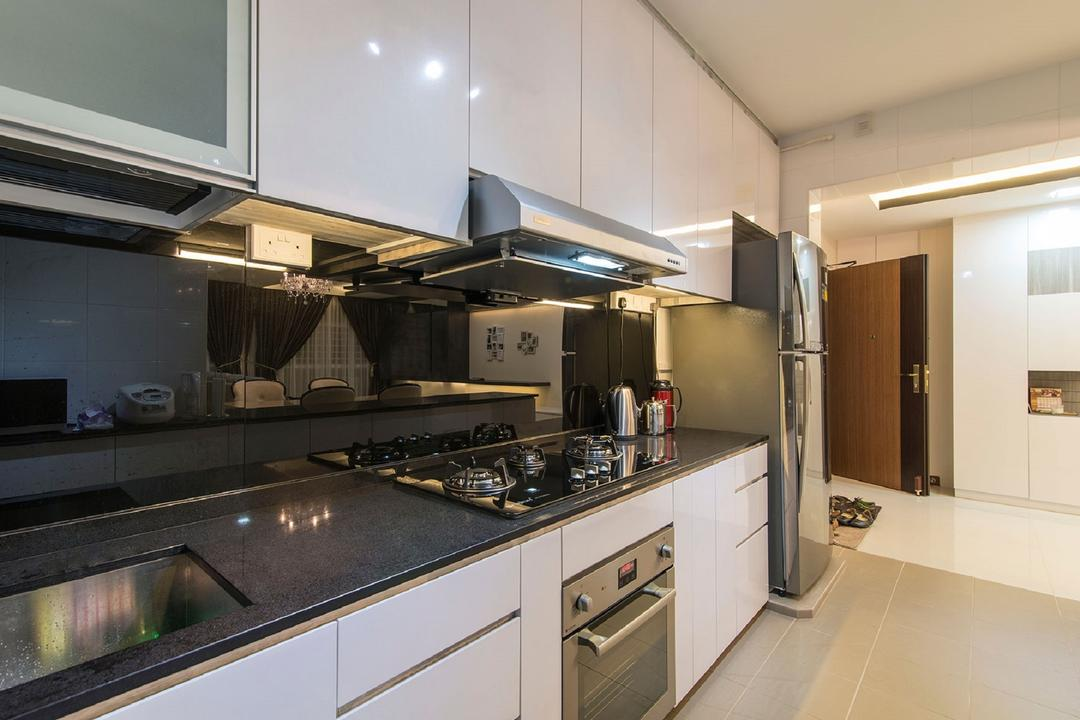 Sengkang East Avenue, Ace Space Design, Modern, Kitchen, HDB, Black Counter Top, Kitchen Counter, Wall Mounted Cabinet, Cabinet, Kitchen Cabinets, Black Backsplash, Indoors, Interior Design, Room, Appliance, Electrical Device, Fridge, Refrigerator, Oven