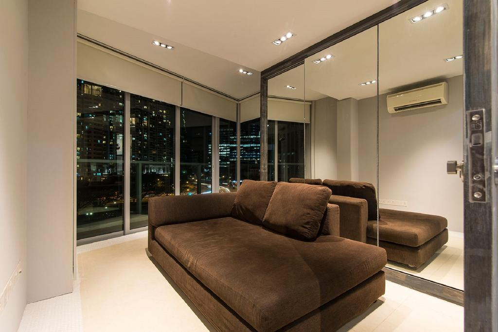 Modern, Landed, Living Room, Southbank, Interior Designer, Ace Space Design, Full Length Mirror, Full Length Window, Glass Window, Glass Windows, Brown Sofa, Mirror, Couch, Furniture, Indoors, Interior Design