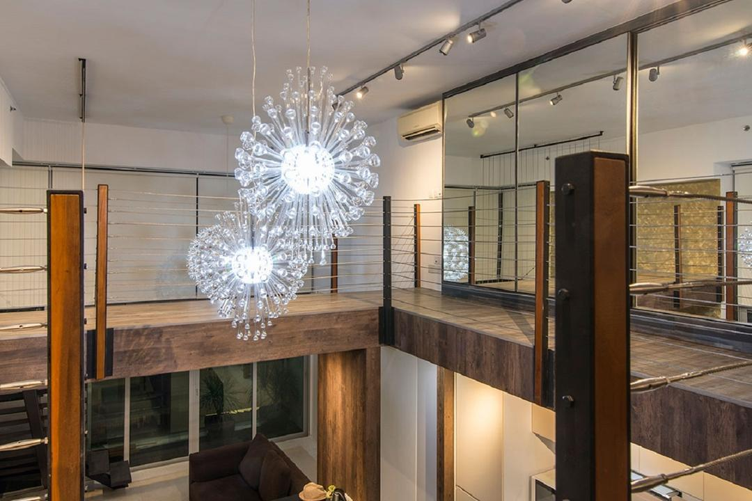 Southbank, Ace Space Design, Modern, Dining Room, Landed, Hanging Light, Chandelier, Track Light, Track Lighting, Trackie, Ghost Chairs, Ghost Chair, Wooden Dining Table, Lamp, Couch, Furniture, Light Fixture, Indoors, Interior Design, Room