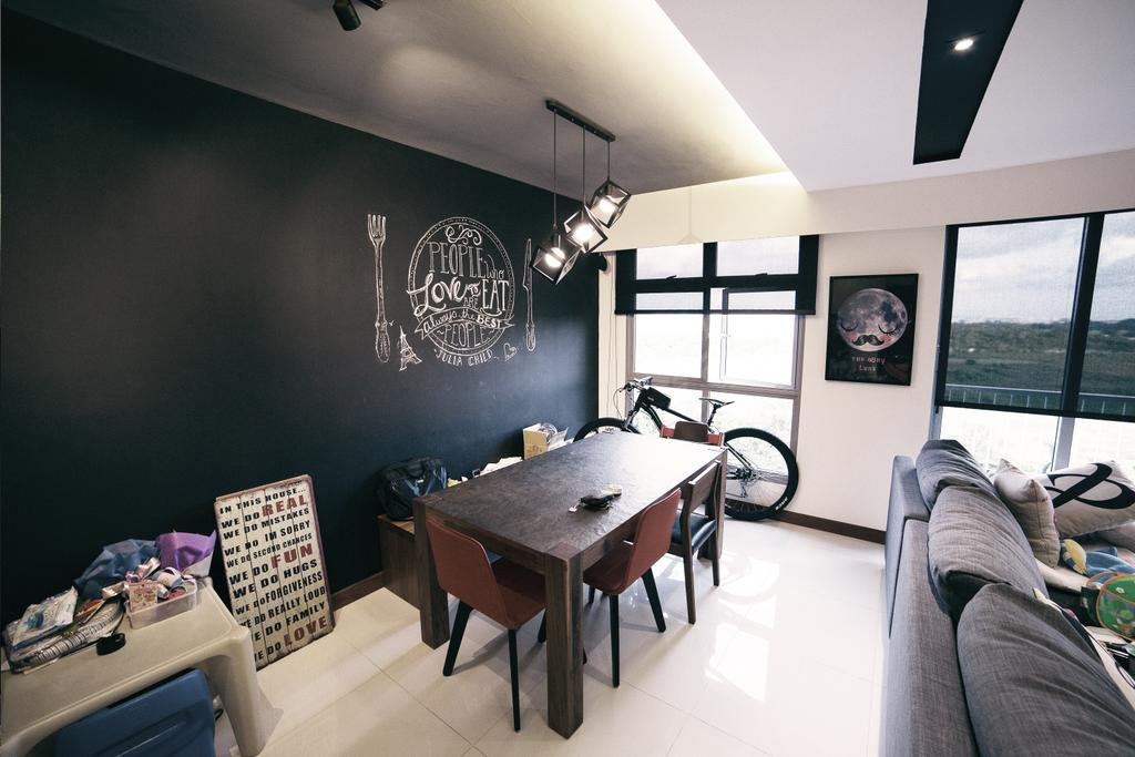 Scandinavian, HDB, Kitchen, Upper Serangoon View (Block 476C), Interior Designer, NIJ Design Concept, Dining Table, Furniture, Table, Dining Room, Indoors, Interior Design, Room, Couch